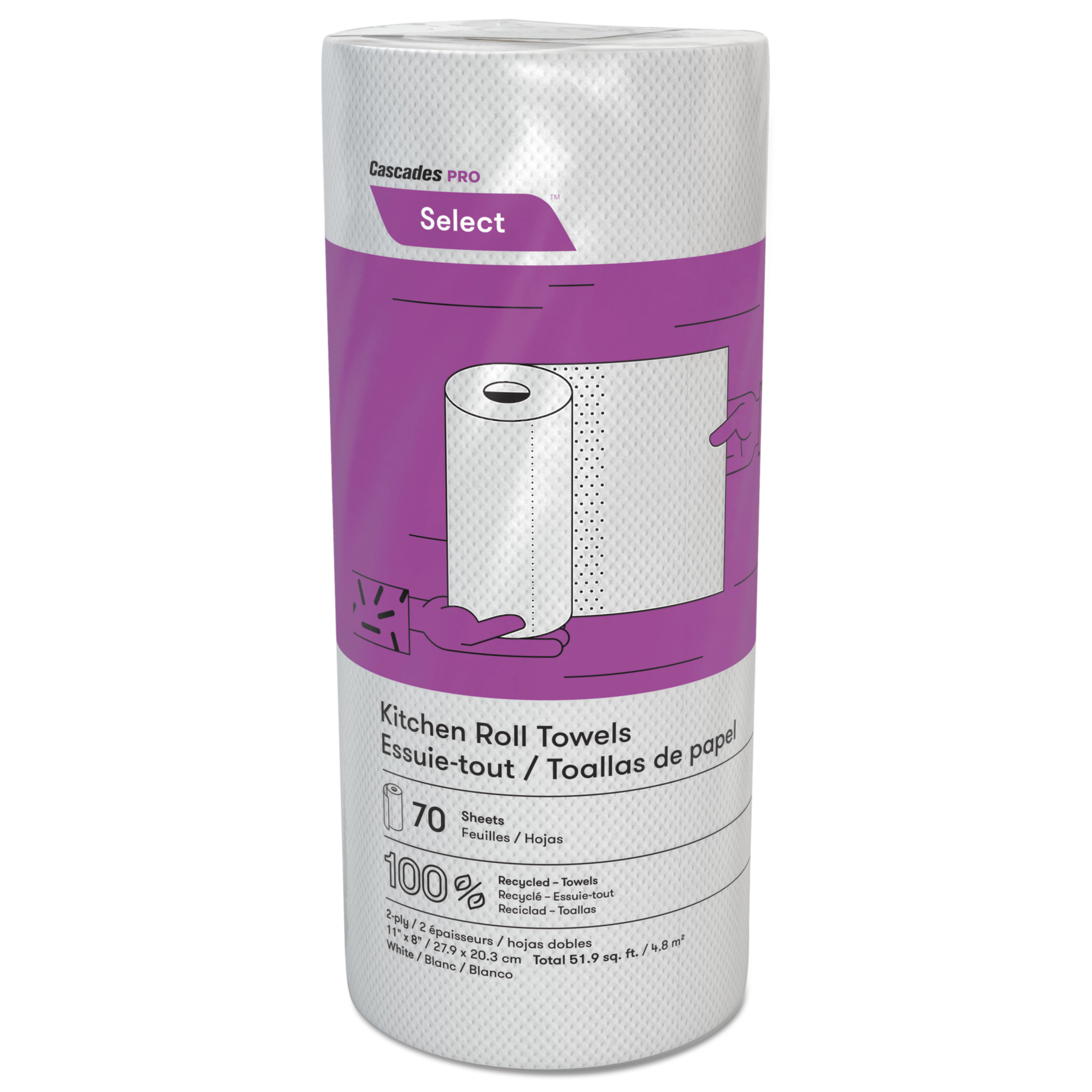 Cascades Decor Perforated Roll Towels, 2-Ply, 8 x 11, White, 70/Roll, 30 Rolls/Carton