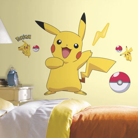 pokemon pikachu peel and stick wall decals. Black Bedroom Furniture Sets. Home Design Ideas