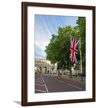 England, Central London. Union Flag Decorating the Mall Showing the Admiralty Arch in Distance Framed Print Wall Art By Pamela