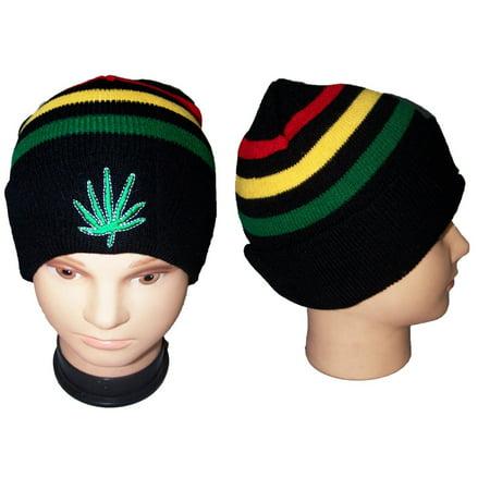 Reggae Rasta Weed Cotton Beanies Caps Hats Embroidered (WCA135)