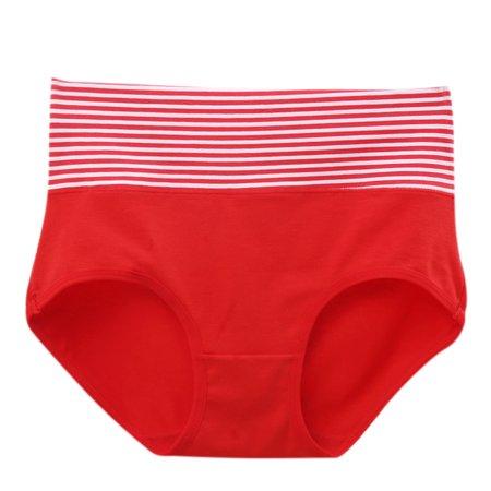 Women Girls Soft Comfort Cotton Briefs High Waist Striped Panties Underwear