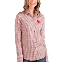 Houston Cougars Antigua Women's Structure Button-Up Shirt - Red/White