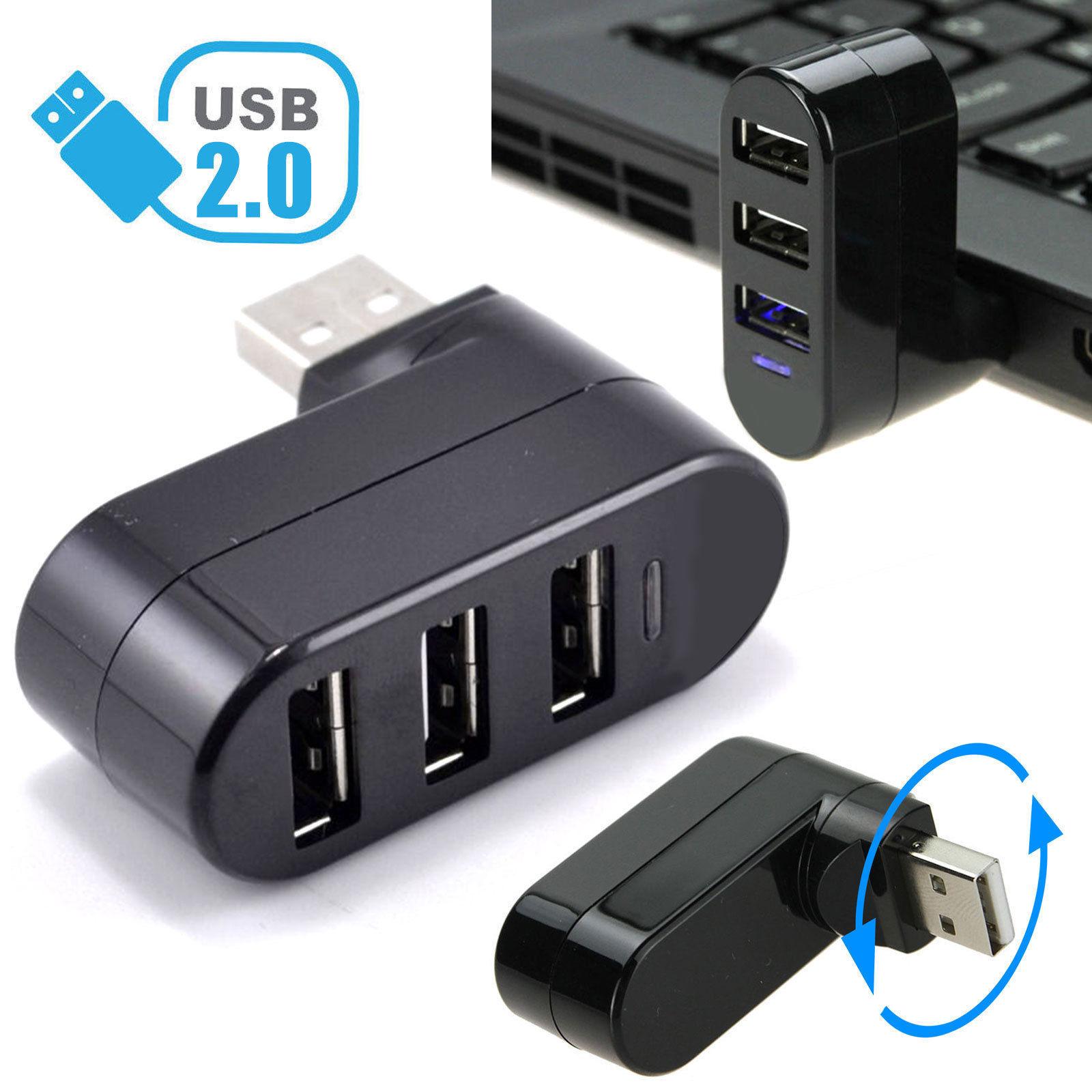 TSV 3-Port USB 2.0 Rotatable Hub [90/180 Degree Rotatable] (Black)