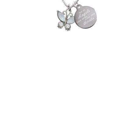 Silvertone Butterfly with White Wings & Clear Crystals Not All Angels Have Wings Some Wear Scrubs Engraved Necklace - Butterfly With Angel Wings