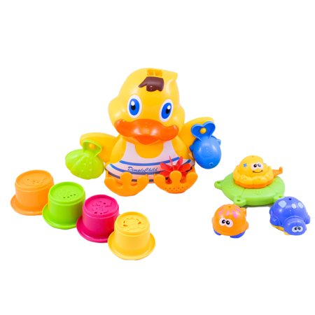 Matashi Rubber Duck Wall Mounted Bath Toy, with Floatable Sea Animal Toys By Dimple