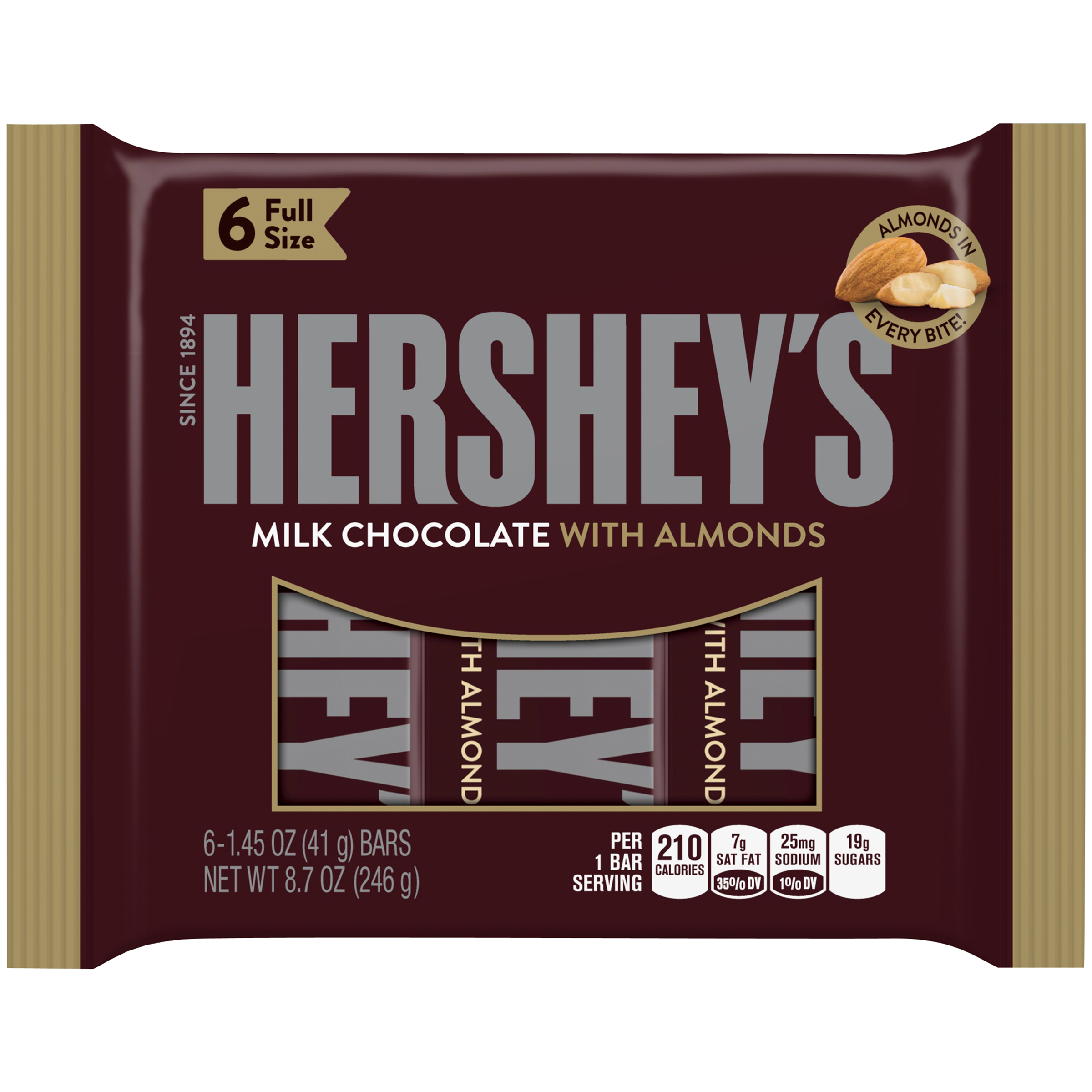 HERSHEY'S Milk Chocolate with Almonds Bars, 6 count, 8.7 oz