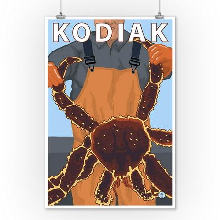 Kodiak, Alaska - Alaskan King Crab - LP Original Poster (9x12 Art Print, Wall Decor Travel Poster)