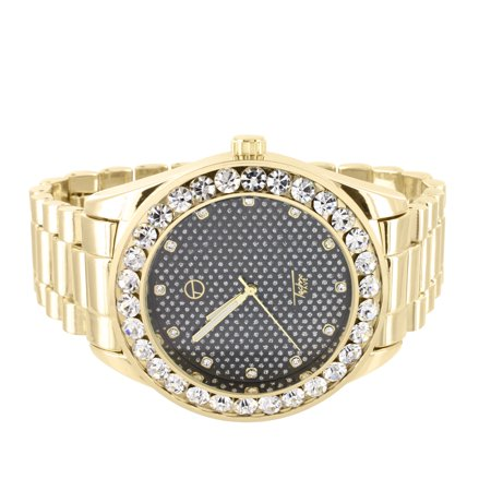 (Techno Pave President Style Watch Gold Tone Black Dial Solitaire Simulated Diamond)