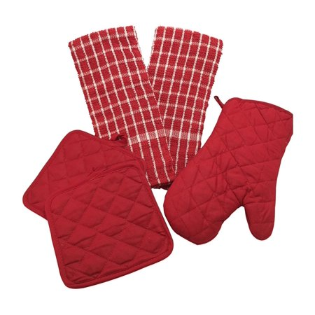 Kitchen Linen Set (Includes: one oven mitt, two pot holders and two dish  towels) (Red & White), Kitchen linen set contains: one 13\
