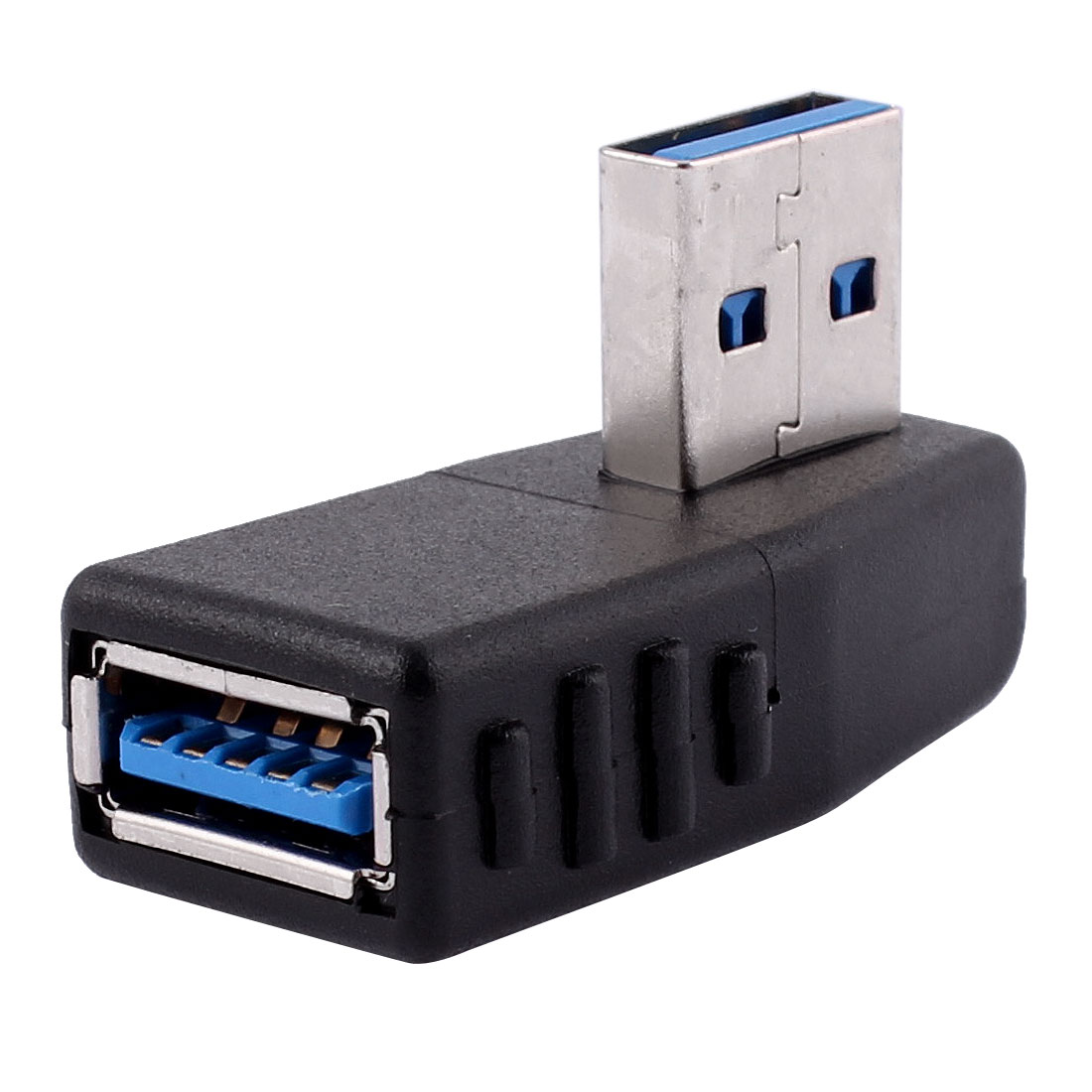 Right Angle USB 3.0 Type A Male to Female M/F Adapter Connector Black