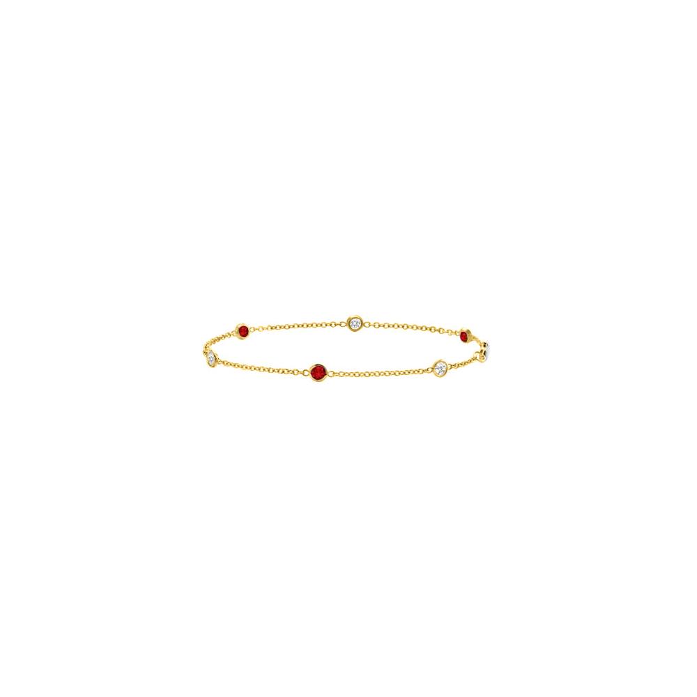 Ruby and Diamond Bracelet 14K Yellow Gold 0.75 CT TGW - image 2 de 2