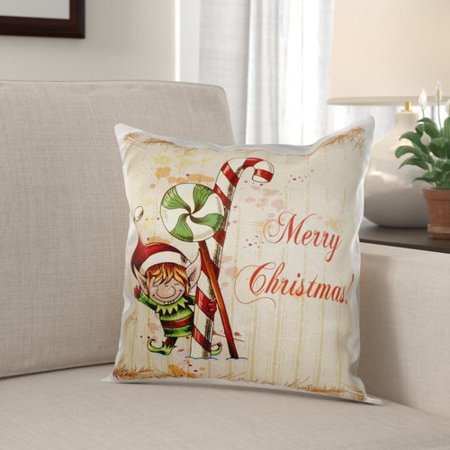 The Holiday Aisle Michalski Cute Christmas Elf with Peppermint and Candy Cane Merry Christmas Xmas Holiday Greeting Pillow - Candy Cane Candy Corn Elf