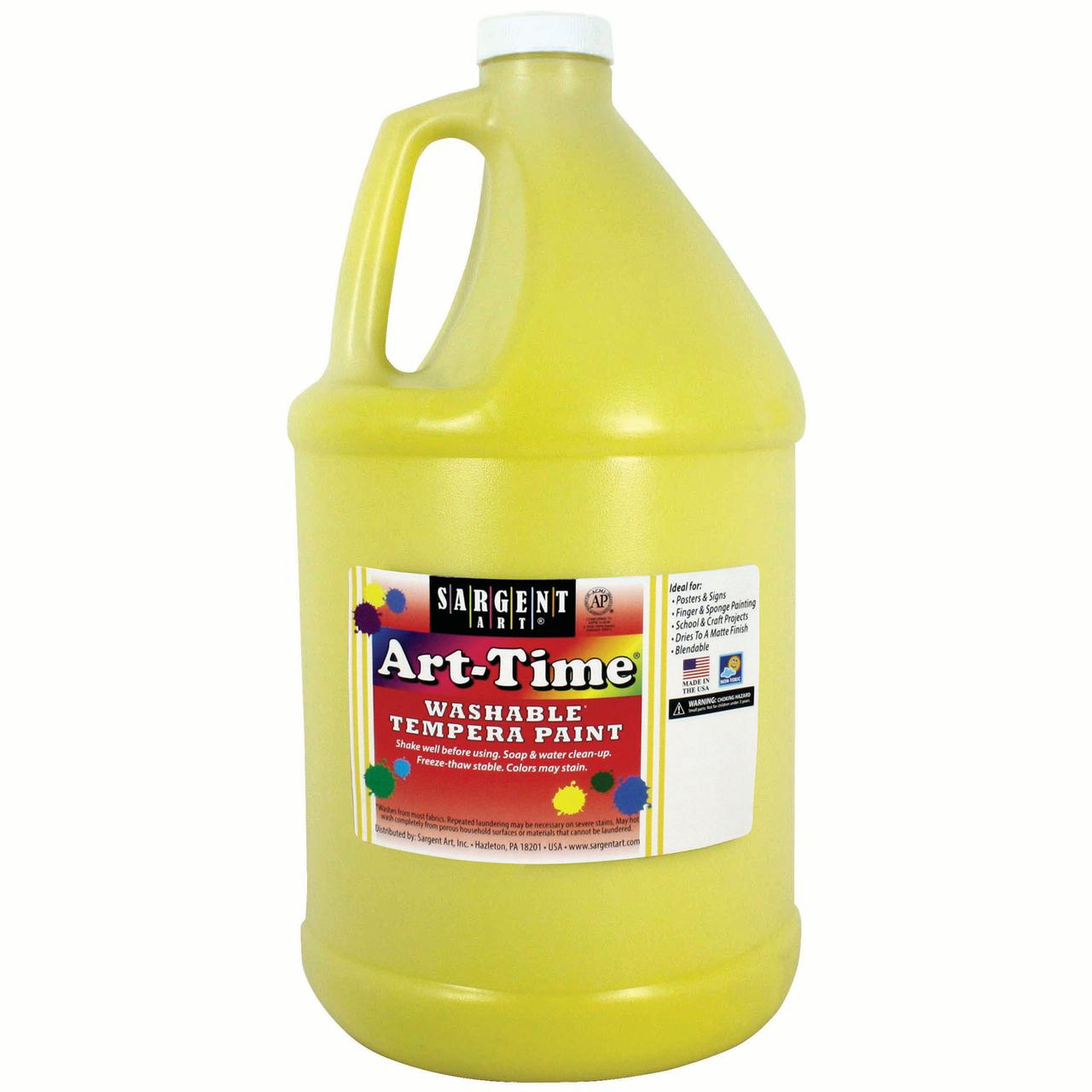 Art-Time® Washable Tempera Paint, Yellow - Gallon