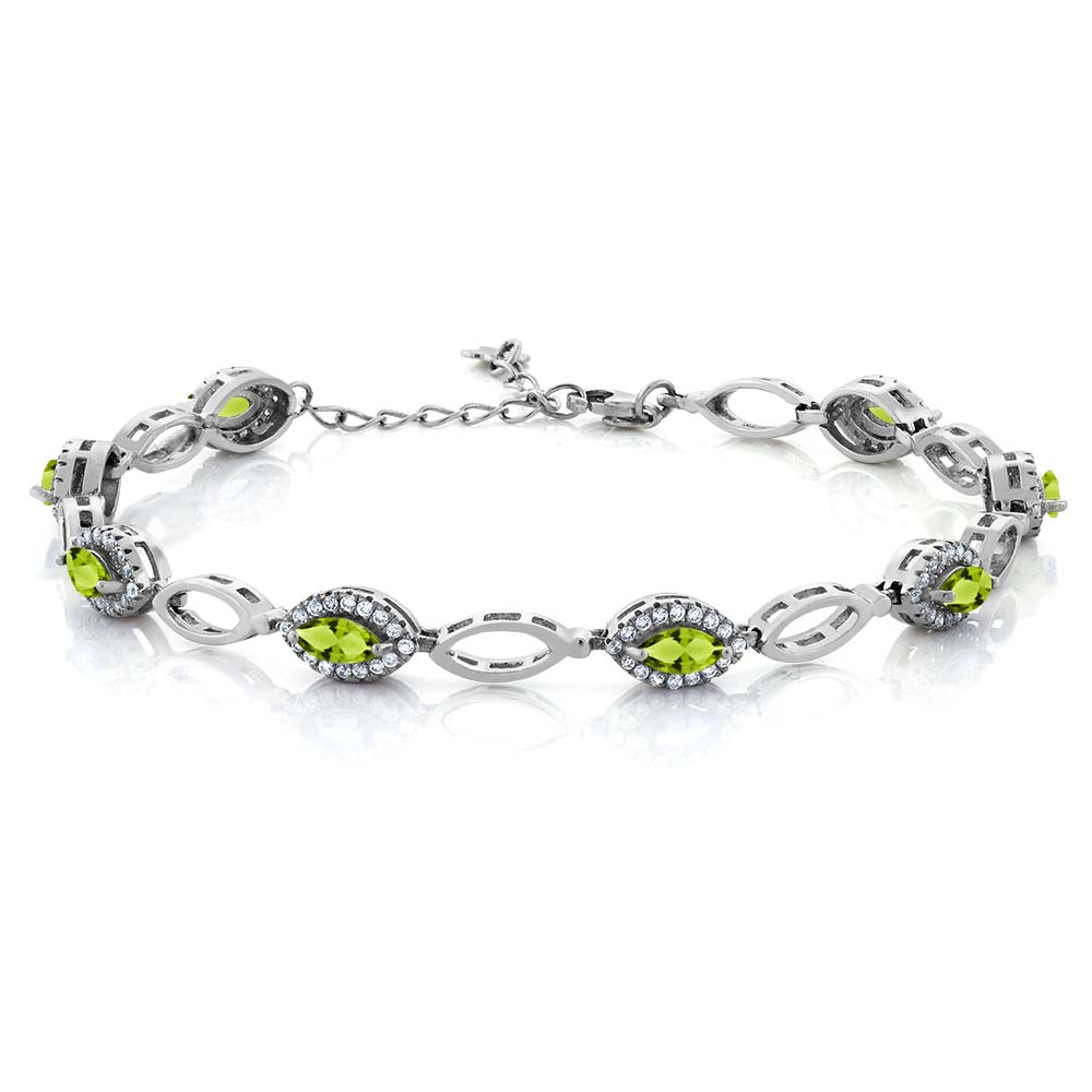 3.66 Ct Marquise Green Peridot 925 Sterling Silver Bracelet by