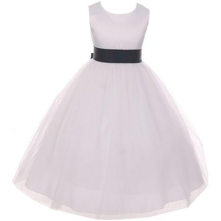 Big Girl Satin Customizable Big Bow Communion Wedding Flower Girl Dress Navy 8 KD 411 WT BNY Corner](Navy Blue Dress Girl)