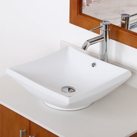 Elite  4125F371023C High Temperature Grade A Ceramic Bathroom Sink With Square Design and Chrome Finish Faucet