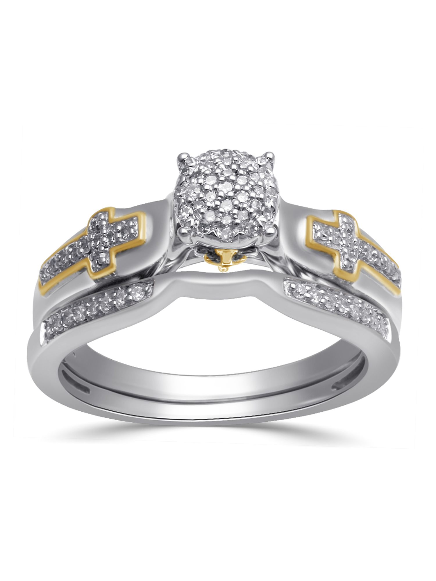 1/5 Carat T.W. Diamond 18kt Yellow Gold over Silver Bridal Set