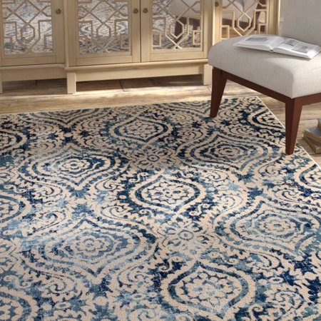 Bungalow Rose Amy Royal Trellis Creamblue Area Rug Walmartcom