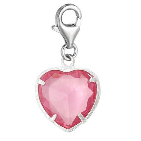 Clip-on October Birthday Heart Dangle Pendant for European Clip on Charm Jewelry w/ Lobster Clasp ()