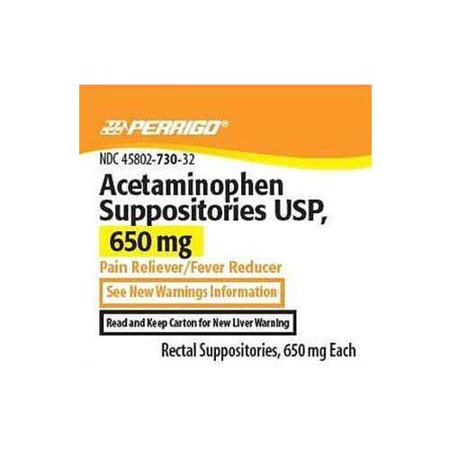 5 Pack Perrigo Acetaminophen Suppositories 650mg (Compare to FeverAll) 12ct
