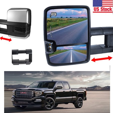 Chrome 14-17 Silverado Sierra Towing Mirrors Power Heated SMOKE LED Turn (Biggest Tire On Stock 2015 Silverado 1500)