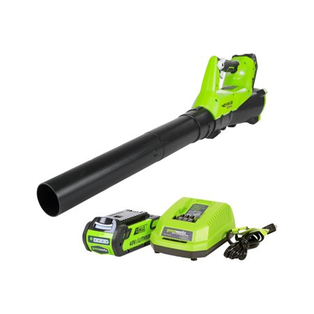 Greenworks BA40L210 G-MAX 40V 115MPH - 430 CFM Cordless Brushless Blower, 2Ah Battery and Charger Included 600 Cfm Dual Blower