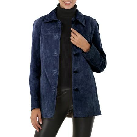 BGSD Women's Anna Suede Leather Car Coat (Regular & Plus Size) Three Quarter Car Coat