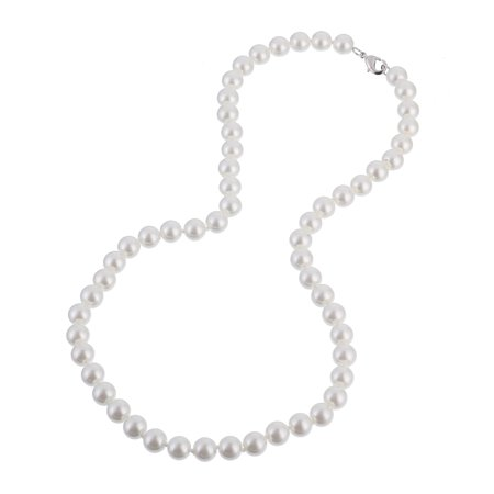 """8mm Faux White Pearl Necklace 20"""""""