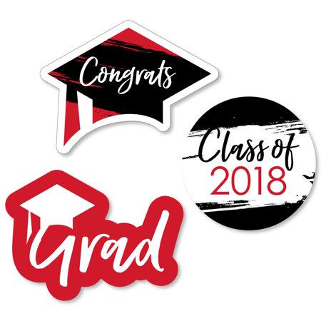 Red Grad - Best is Yet to Come - DIY Shaped 2018 Graduation Party Cut-Outs - 24 Count - Graduation Ideas For High School