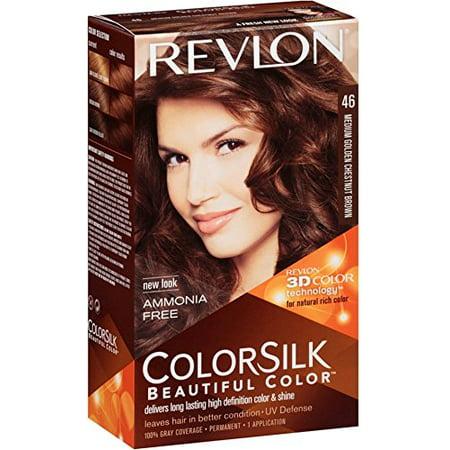 4 Pack Revlon ColorSilk Beautiful Hair Color (46) Medium Golden Chestnut