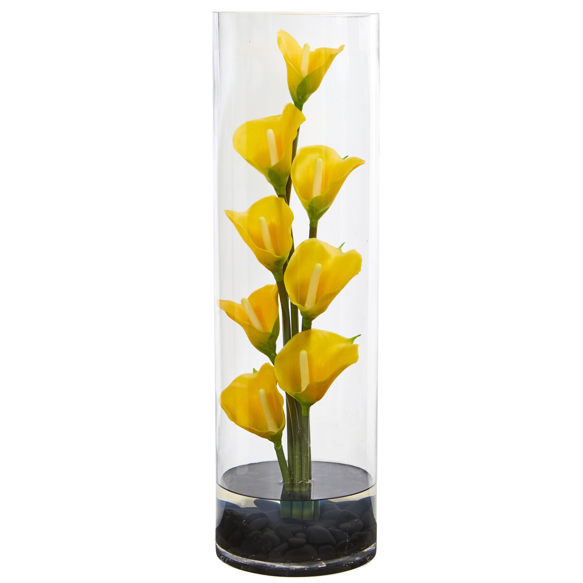 Nearly Natural 20 in. Calla Lily Artificial Arrangement in Cylinder Glass Vase