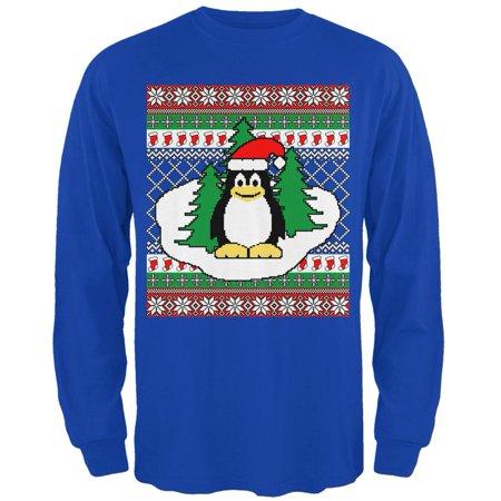 christmas penguin on ice ugly christmas sweater mens long sleeve t shirt walmartcom