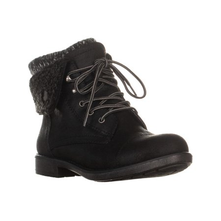 Womens White Mountain Decker Fold Over Lace Up Winter Boots, Black
