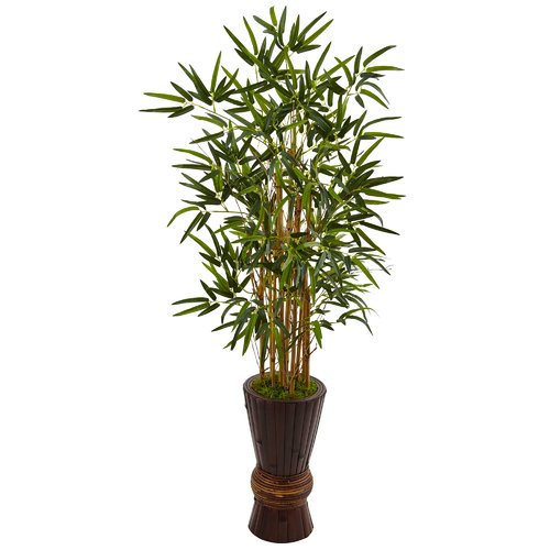 Bloomsbury Market Artificial Faux Floor Bamboo Tree In Wood Planter