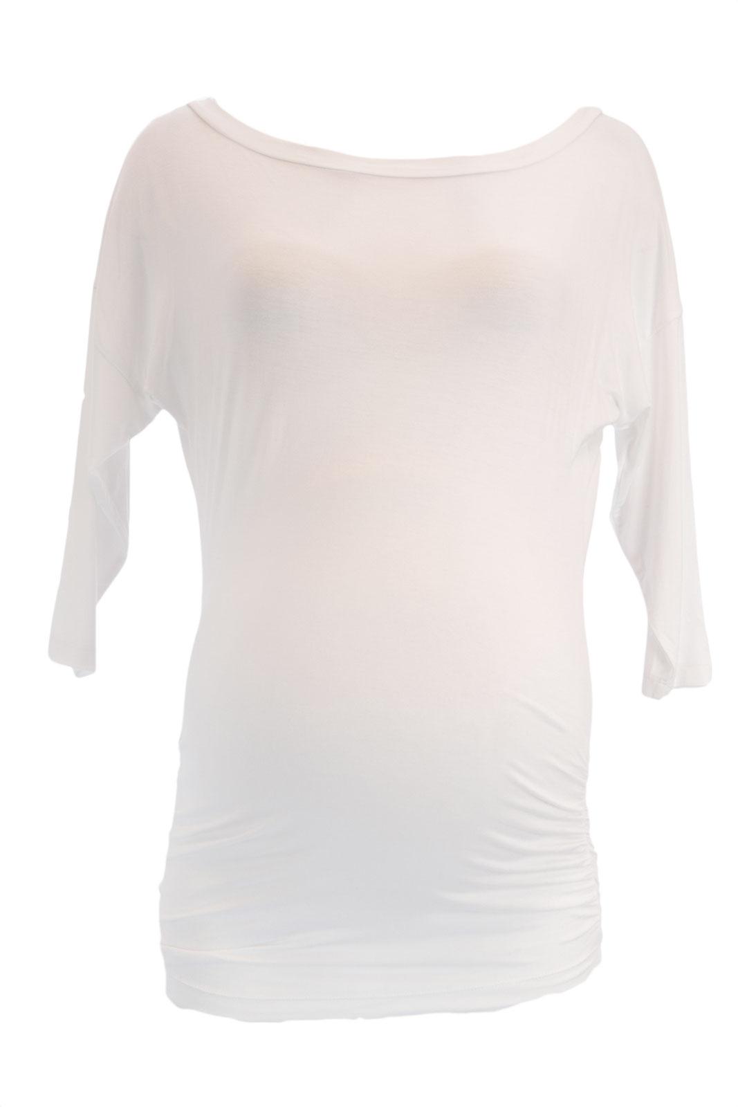 OLIAN Maternity Women's Solid 3/4 Dolman Sleeve Tunic Top X-Small White