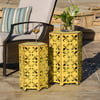 Wayne Outoor Iron Accent Tables, Set of 2, Antique Yellow