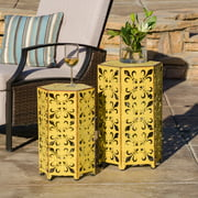 Wayne Outoor Iron Accent Tables, Set of 2, Yellow