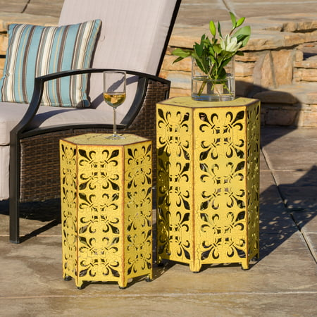 Wayne Outoor Iron Accent Tables, Set of 2, Antique (Antique Iron Furniture)