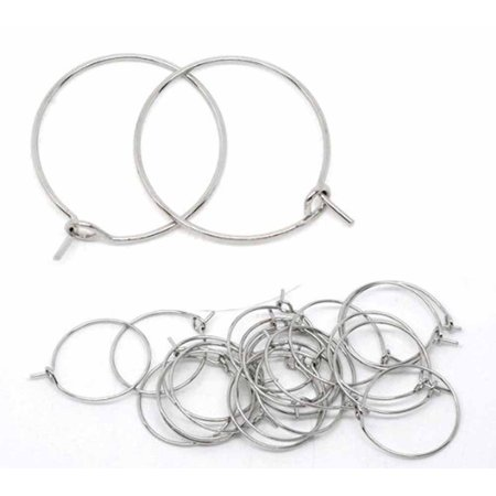 200 Nickel/steel Tone 20mm 2/4 Inch Beading Hoop Wine Glass Charms Wire