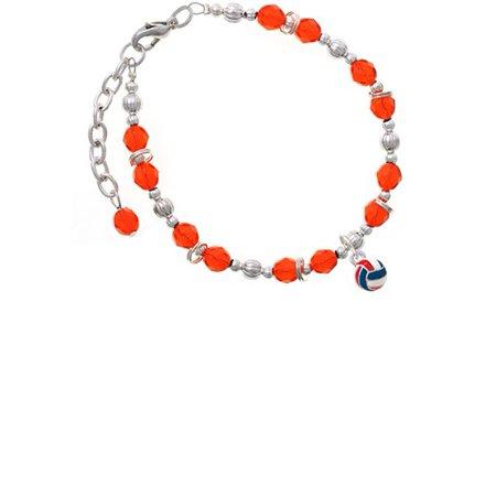 3-D Red White & Blue Volleyball Orange Beaded Bracelet - Red White And Blue Bracelet