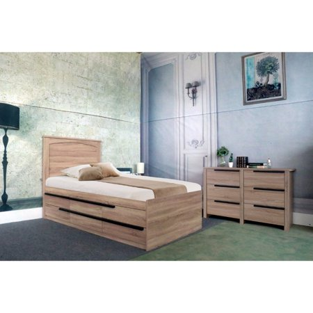 Contemporary style Brown Finish Twin Size Chest Bed With 6 Drawers.