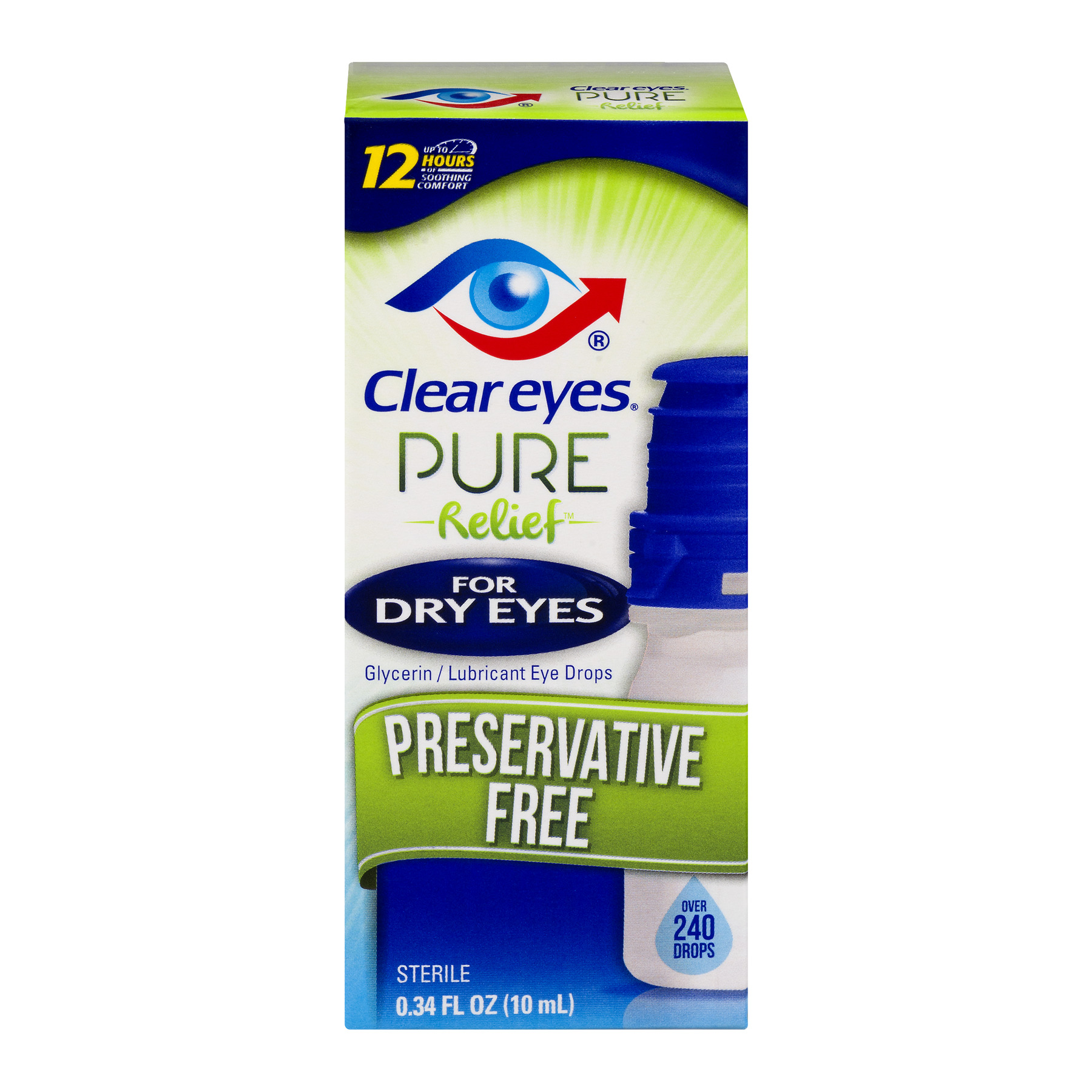Clear Eyes Pure Relief for Dry Eyes Eye Drops, 0.3 fl oz