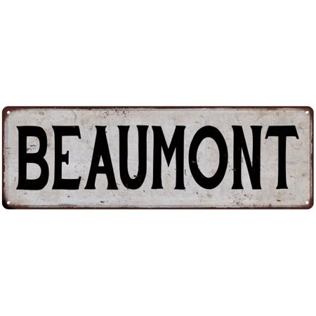 BEAUMONT Vintage Look Rustic Metal Sign Chic City State Retro - Party City Beaumont