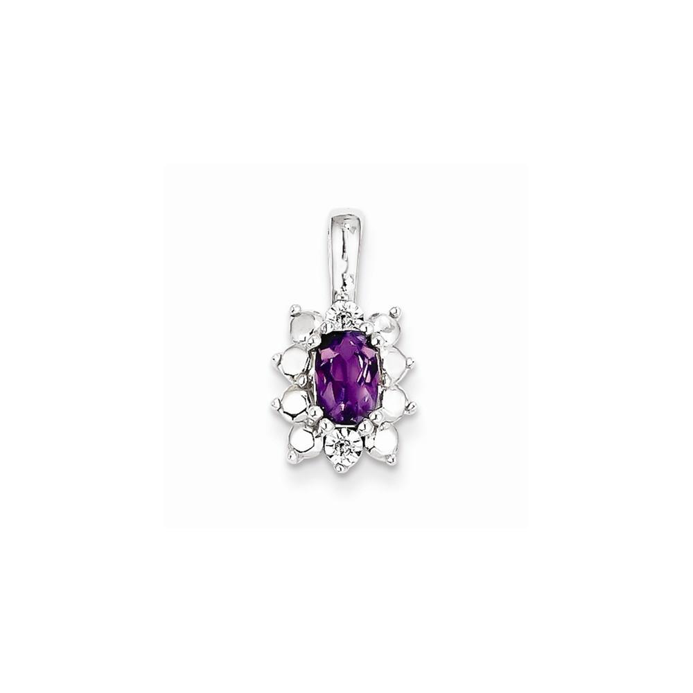 Sterling Silver Amethyst Diamond Pendant. Gem Wt- 0.46ct