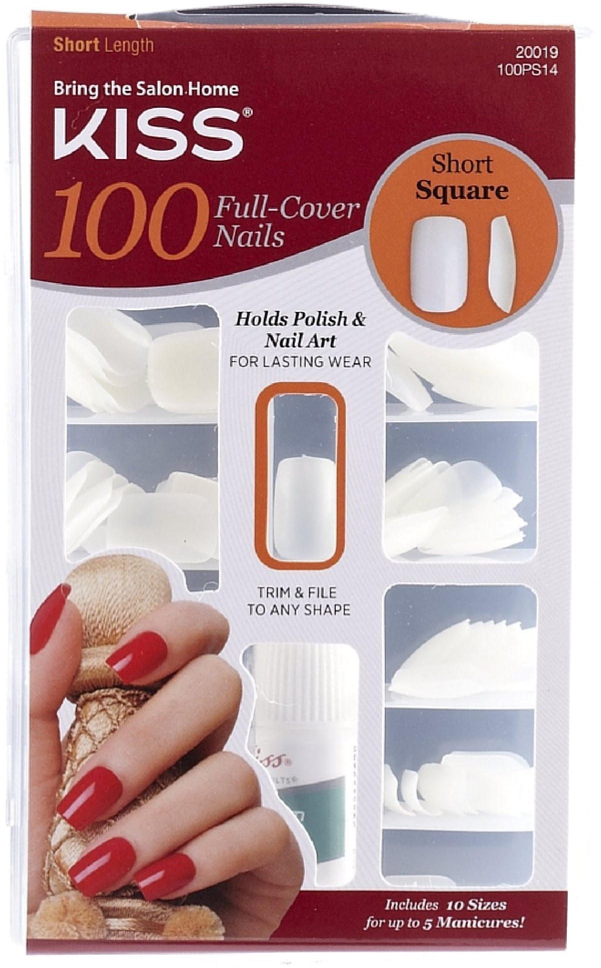 KISS 100 Full Cover Nails Kit, Short Length, Square - Walmart.com