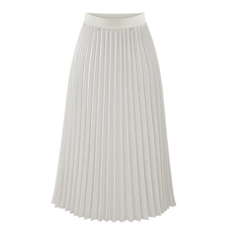 Lavaport Europeian Style Women High Waist Chiffon Slim Long Pleated Skirt