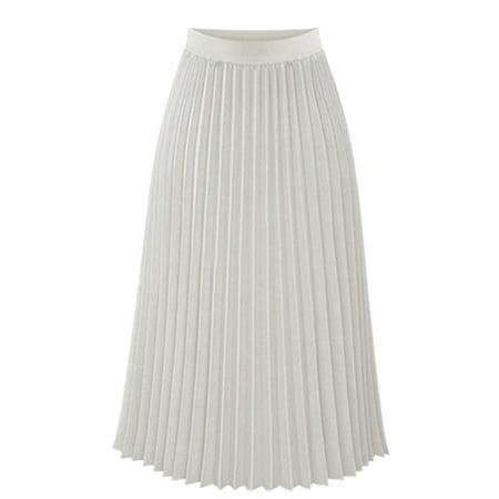 Lavaport Europeian Style Women High Waist Chiffon Slim Long Pleated Skirt Bodice Chiffon Skirt