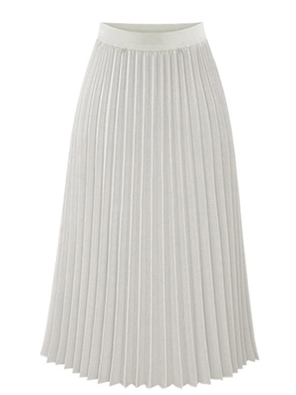 Lavaport Europeian Style Women High Waist Chiffon Slim Long Pleated Skirt