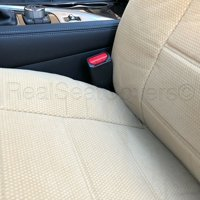 Comfort All Weather Triple Stitched Thick Padded Front 2 Low Back Semi Custom Fit Beige Seat Cover Pair