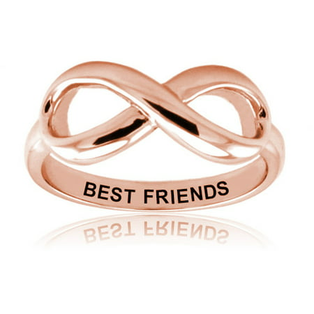 Rose Gold Plated Sterling Silver Best Friends Classic Iconic Infinity Symbol Promise (Best Chuvora Promise Rings)